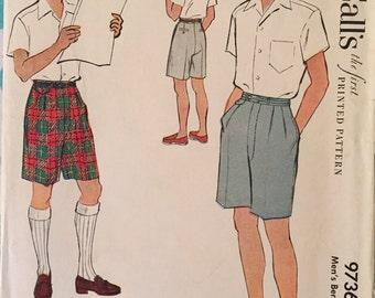 "Vintage 1954 McCall's Men's Shorts Pattern #9736 Size 34"" - UNCUT - NC - Vintage McCall's Pattern / 50s McCall's"