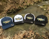 Embroidered Brown Trout Patch Flex Fit Trucker Hat