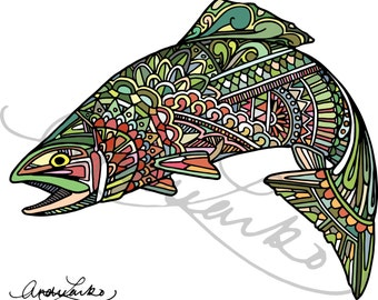 "Jumping Rainbow Trout Zentangle Art Print 8.5""x11"""