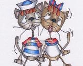 1095 Raggedy Cats  Americana Digi Stamp  SALE