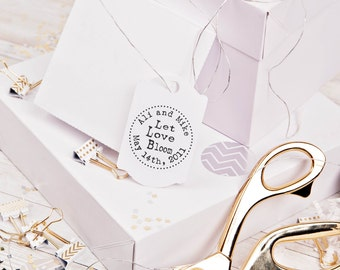 Clear Block Let love bloom rubber stamp for personalized flower seed wedding favors --5517