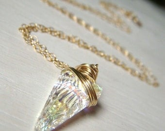 Crystal Spike Necklace, Swarovski Necklace Goldfilled, Wirewrapped Minimalist Crystal Pendant, Aurora Borealis Necklace, Crystal AB