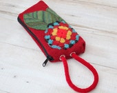 Boiled Wool  Wristlet In Red  With Turquoise and Yellow Granny Square Flower