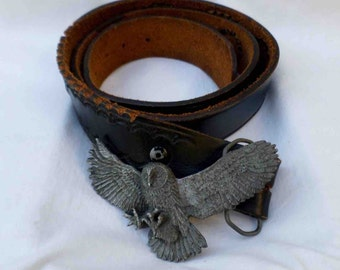 Vintage 1980 Owl in Flight Pewter Like Belt Buckle & Black Leather Belt by Bergamot Brass Made in USA / Rare Flying Owl