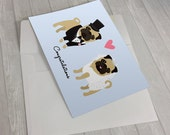 Wedding Card - Wedding Pugs Greeting Card - Card for wedding - pug lover card - bride and groom pugs - wedding gift - box of wedding cards