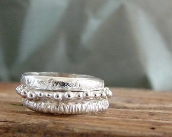 Silver Stack Ring Set of Three Textured Rings Boho Style Rings Bubbles Gifts for Her Minimal Jewelry