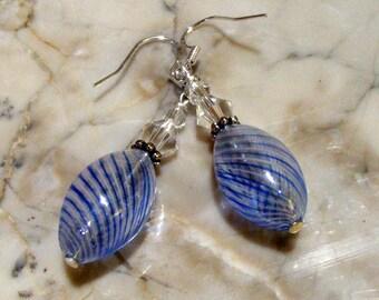 Blown Glass Blue Swirl Hollow Bead Sterling Silver Earrings with Swarovski Crystals Nc2223 - SRA by Lynn