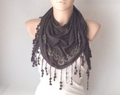 Dark Grey and stone dancing with roses lace scarf