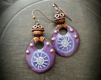 Enameled Charms, Rustic, Enameled Earrings, Flowers, Leather, Copper, Organic, Primitive, Beaded Earrings