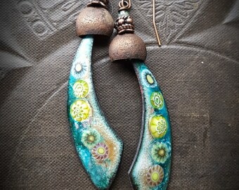 Enameled Charms, Rustic, Enameled Earrings, Glass, Flowers, Vintage Buckets, Organic, Primitive, Beaded Earrings
