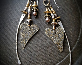 Valentine, Heart, Rustic, Romantic, Vintage, Charms, Silver, Brass, Organic, Earthy, Dagger, Beaded Earrings