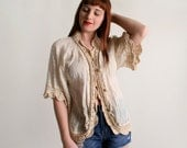 Vintage Indian Cotton Blouse Shrug - Open Front Bubble Button Crochet Lace Top - Medium Large