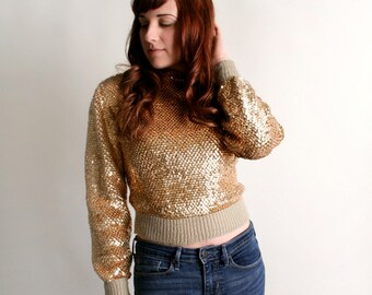 Vintage Gold Sequin Sweater - 1980s Golden Crop Sweater Top - Small
