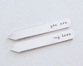 Personalized Collar Stays - you are my love - Custom Hand stamped Collar Stays