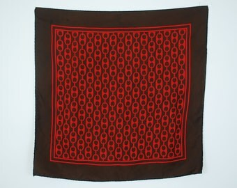 CLEARANCE SALE - 1970's Vintage Brown and Red Pure Silk Chain Link Hand Rolled Edge Scarf