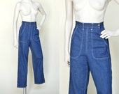 Vintage High Waist Jeans --- 1950s Denim Jeans