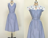 1950s Cotton City Dress --- Vintage Gingham Day Dress