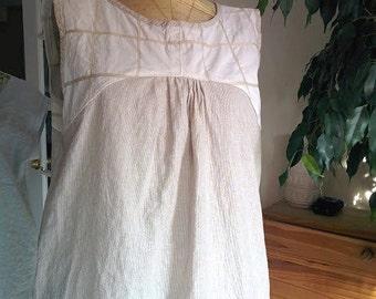 Loose Linen Dress Tunic dress for women. Sleeveless Summer Dress White & tan pinstripe. Size S/M