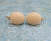 French Vanilla Clip On Earrings, Cream Clip Ons, Non Pierced Earrings, Fused Glass Jewelry - Monticello - -6