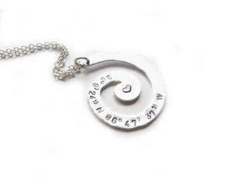 Spiral Longitude Latitude Necklace, Swirl Personalized Hand Stamped Necklace, Metal-Stamped Pendant, Coordinate Necklace, GPS Jewelry