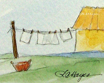 Laundry Day Mini Watercolor Painting Miniature Original Laundry Room Wash Day Housewarming Gift