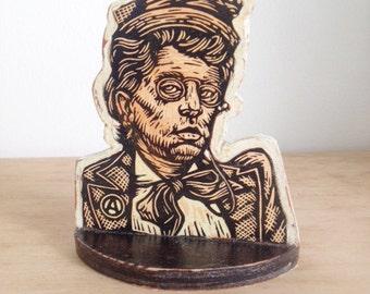 Art, Bookend, Emma Goldman Bookend, Handmade Shelf Art, Linocut on Wood