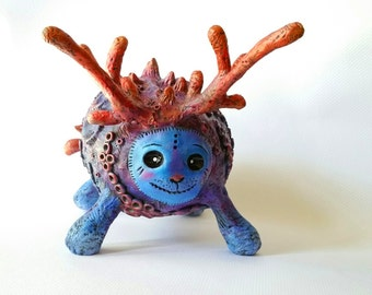 Coral Imp Monster Polymer Clay Sculpture