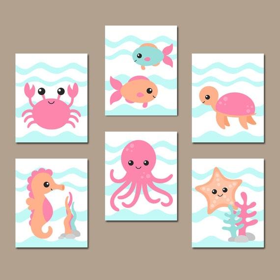 Ocean Wall Decor For Nursery : Girl ocean nursery wall art nautical theme bathroom child