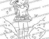 Gardening Girl Digital Stamp, Digi Colouring Page, PNG, Summer Girl, Floral Flower, Garden Love, Scrapbooking Supplies, Instant Download