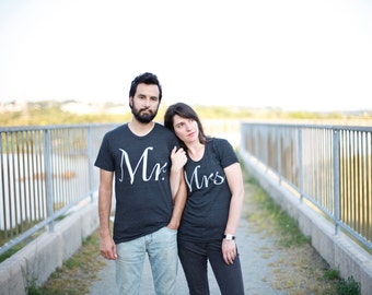 Mr and Mrs Tshirt Set, Clothing Gift for Couples, Matching Shirts Bride and Groom, His and Hers Shirts, Couples Shirts Wedding Day Gift