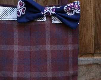 Vintage Fabric Tote Bag Plaid Burgundy Blue Apple Bowtie Pink Polkadot OOAK