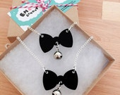 Kitty Cat Collar Necklace - Acrylic Charm Pendant with Bell on a Silver Chain