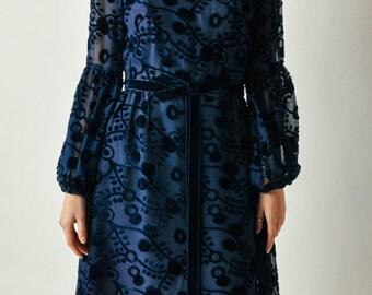 Vintage Navy Burnout Velvet Dress
