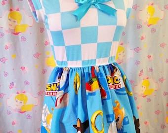 Sonic the Hedgehog sailor dress, fairy kei seifuku gamer girl 90s cartoon pop kei size medium M