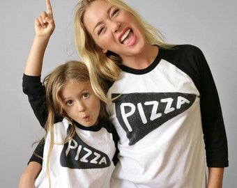 Unisex Child + Adult Matching Pizza Shirt Set - mommy and me - father daughter - unisex jerseys - gift for dad from kids