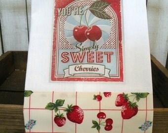 Farm Fresh Sweet Cherries Strawberries cherry Prairie Farmhouse cotton Kitchen dish towel ECS RDT