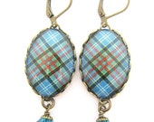 Scottish Tartan Jewelry - Ancient Romance Series - Paisley Clan Tartan Earrings with Indicolite Swarovski Crystals