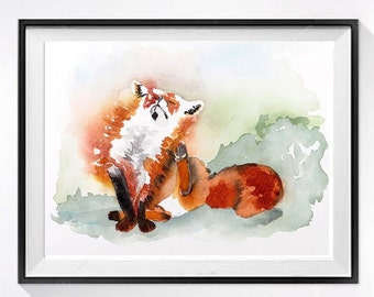 3 Orange Painting Fox Artwork PRINT, Animal watercolor painting nature art decor, Nursery red fox painting, small wall art animal painting