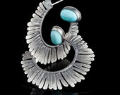 Feather Hoops with Turquoise