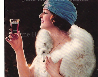 Digital Download Vintage PostCard and Calendar Images Beautiful Girls Drinking Coca Cola 0030