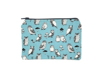 CHOOSE SIZE Natural Owls Zipper Pouch / Owl and Mushroom Camera Bag on Blue / Make Up or Coin Pouch