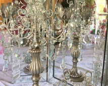 Opulent silver candelabra hand painted prisms and pearl garland