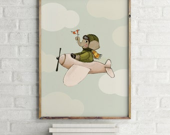 Elephant flying, Boys room decor, boys wall decor, baby shower boy, art for boys room, kids room decor,boy nursery art, boy nursery decor