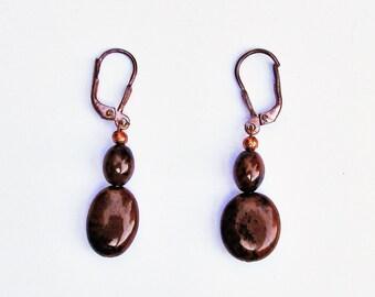 Obsidan Earrings, Brown Earrings, Dark Brown Earrings, Brown Drop Earrings, Brown Dangle Earrings, Mahogany Earrings