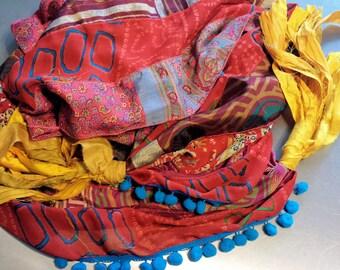 Gypsy Fringe Sari Scarf Shawl Red Blue Yellow