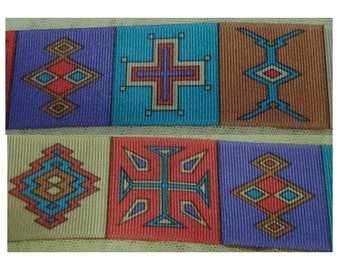 American Indian Pattern GROSGRAIN RIBBON Called Navajo - Beautiful Designs and Bright BOLD Colors