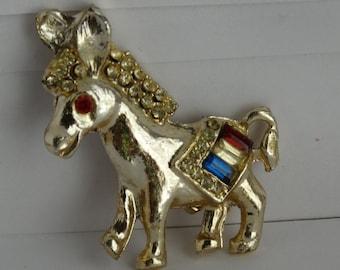 Vintage 1964 Jewelry Rhinestone Donkey Patriotic Red White & Blue Rhinestones Brooch Classic 60's Texana retro 1960's LBJ President Johnson