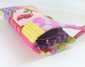 fabric eyeglass case. pink yellow red scrap patchwork sunglasses drawstring bag. padded glasses pouch