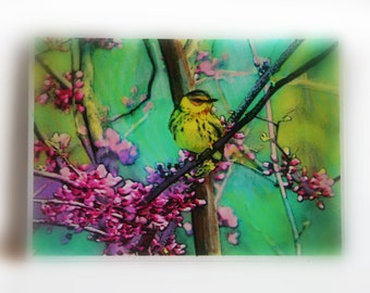 Spring Goldfinch, Aceo original,2.50x3.50 inches #Miniature art #gifts under10 #Art #Tiny art #bird aceo #aceo original #Spring art