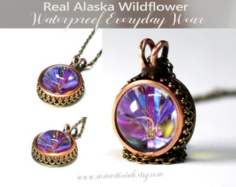 Hippie Chic Flower Necklace Everyday Use Jewelry Waterproof OK to Shower In Botanical Glass Pendant Alaska Fireweed Boho Style Mixed Metal